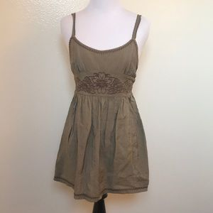 🆕Anthropologie Mine Olive Embroidered Tunic Tank